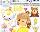 80%OFF - Princess Clipart, Princess Graphics, COMMERCIAL USE, Belle, Planner Accessories, Princess Party, Belle Party, Fairytale