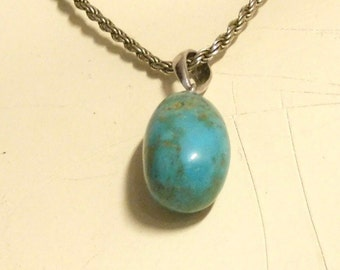 Turquoise drop pendant on sterling chain