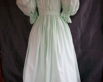 PRICE REDUCED Mint Green 1830s Cotton Dress