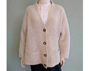 Vintage Pure Shetland Wool Cardigan, United Colors Of Benetton Grandpa Slouchy Chunky Knit Cardigan Sweater, Heavy Warm Womens Sweater