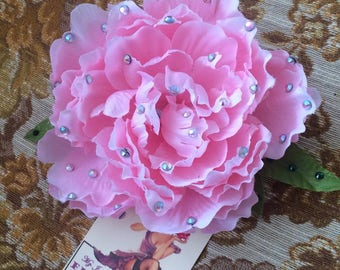CAMILLE - large handcrafted pinup hair flower (PINK PEONY)