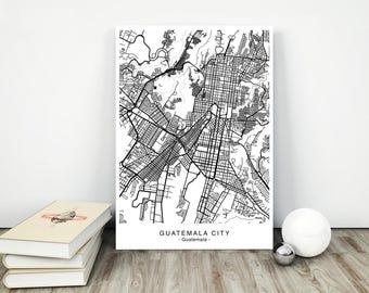GUATEMALA CITY Map - DIGITAL Files - 5 Different Sizes