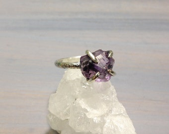 Size 7.5 // Rough amethyst sterling silver ring, raw uncut amethyst rustic look ring jewelry
