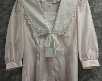 1980's Pink and White Striped Blouse