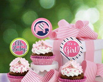 Pink and Navy Baby Shower Cupcake Toppers, printable INSTANT DOWNLOAD - YS.004