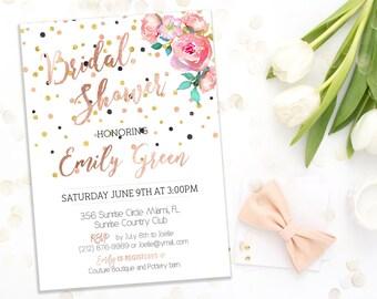 Instant Download Bridal Shower Invitation Bachelorette party Invitation  Bridal brunch Invitation gold pink Bridal Shower Invite idb70