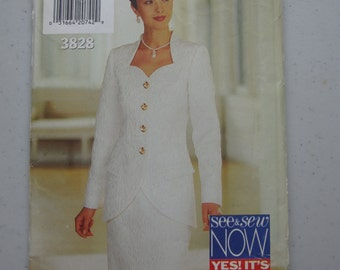 Boss See & Sew Butterick 3828 chic all for women, jacket and skirt size 12 to 16