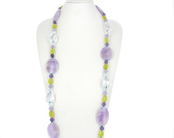 Amethyst necklace rock crystal and green serpentine