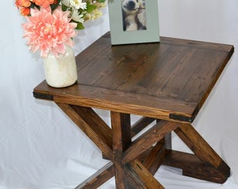 "Farmhouse End Table - Rustic End Table - X Brace Table - Vintage Table - ""X"" Side Table - Wood Furniture"