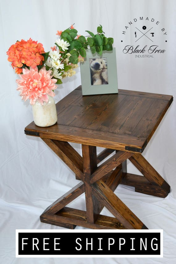 Farmhouse End Table Rustic End Table X Brace Table