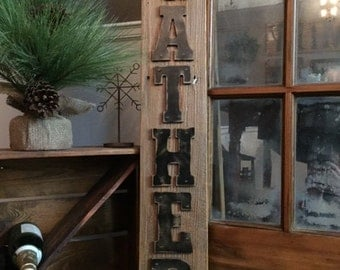 Rustic GATHER Sign on Reclaimed Barn Wood (Small)