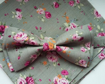 Grey Floral Bow Tie and Pocket Square Set with Pink Flower Pattern, Wedding Bow Tie, Man Bow Tie, Mens Bow Tie, Pink Flower Bow Tie