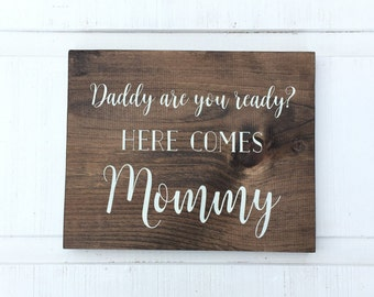 Ring Bearer Sign - Flower Girl Sign - Here Comes The Bride - Here Comes Mommy - Here Comes Your Girl Sign - Wedding Sign