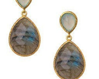 Chalcedony and Labradorite 24k Gold Vermeil Post Earrings