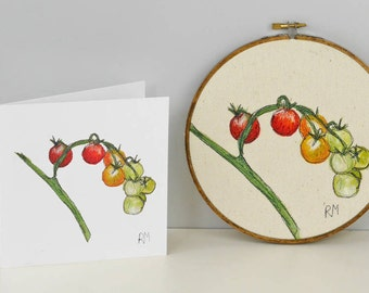 Tomatoes Embroidered in Hoop with Card