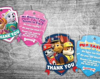 SALE 90% OFF thank you tag paw patrol- Instant Birthday Tag-Party Supplies skye everest chase marshall rubble