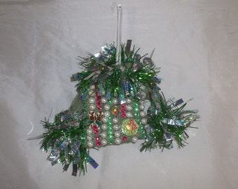 "Original Handmade UGLY CHRISTMAS SWEATER Ornament Art One of a Kind Holiday Gift! ""Faux-bulous"" Fast Shipping!"