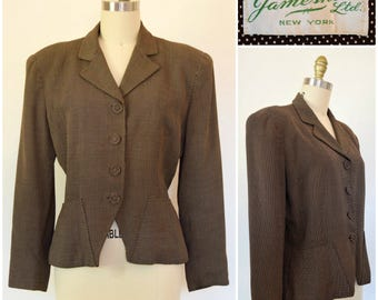 Vintage 40s 50s Jacket/ Brown & White Polkadot Rayon Wasp Waist Blazer/ 1940s-50s Nipped Suit Jacket w/ Covered Buttons/ Jameshire, New York