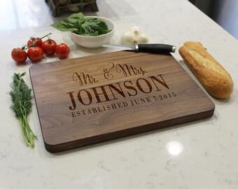 Personalized Cutting Board, Custom Cutting Board, Engraved Cutting Board, Cutting Board, Custom Wedding Gift --CB-WAL-Mr.&Mrs.Johnson