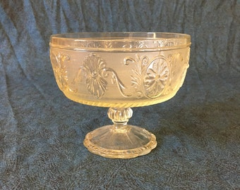 Vintage Indiana Glass Clear Tulip Scroll Sandwich Glass Pedestal Compote