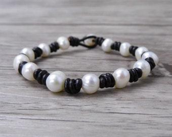 Real Pearl Bracelet Boho wrap bracelet Pearl wrap bracelet Freshwater Pearl bracelet bead Bracelet Leather pearl bracelet jewelry SL-0506