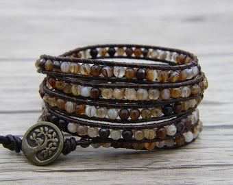 Bead wrap bracelet Coffee onyx agate bead bracelet BOHO leather wrap bracelet 4mm gemstone bracelet Charm bracelet Friendship Gift SL-0554