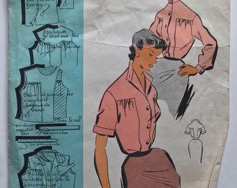 Fabulous 50's French Vintage Sewing Pattern :  Woman Shirts Short & Long  Sleeves size 16/taille 44 - Patrons Modeles 100107