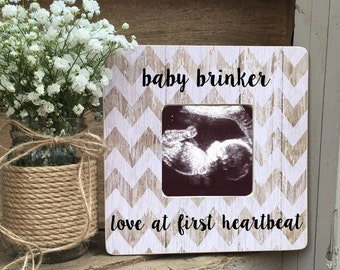 ON SALE Sonogram Ultrasound Love at First Sight Frame Love at First Heartbeat Personalized Picture Frame