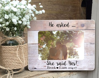 ON SALE Engaged Gift Engagement Recently Engaged Gift  Personalized Custom Picture Frame Recently Engaged Couple Personalized Picture Frame