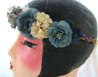 Beautiful Bespoke Floral Crown, Handmade for All Occasions in Shades of Blue, Cream and Beige.