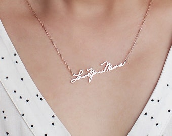 Handwriting Necklace / Memorial Signature Necklace / Actual Handwriting Necklace / Personalized Necklace / Bridesmaid Gift - HN01