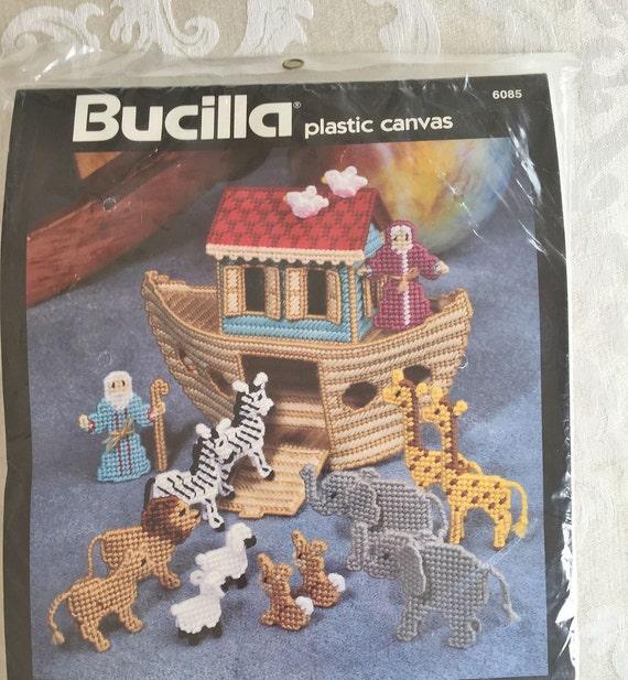 Vintage bucilla noah 39 s ark plastic canvas 6085 1992 for Plastic canvas crafts for kids