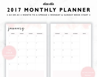 2017 MONTHLY PLANNER / A4 Calendar / 2017 Planner / Planner Inserts / Printable Planner / Calendar / The Lola Planners in Peony / 414