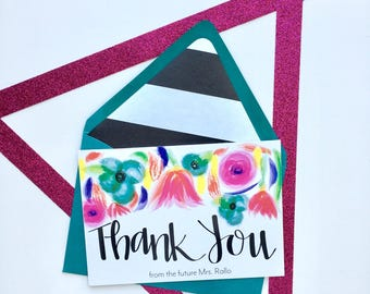 Thank You from the future Mrs. Card, Bridal Shower Thank You Card, Custom Future Mrs Card, Set of 10 Cards