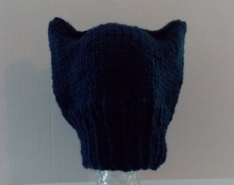Knitted Kitty Cat Hat, Pussy Cat Hat, Cat Ears Hat, Hand Knitted Cat Hat