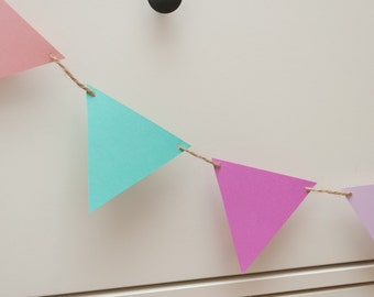 Blush, mint, lilac and purple bunting by Joyce Molly Designs