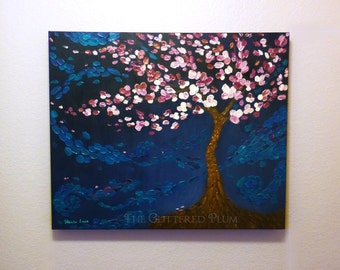 Pink Cherry Blossom Tree Painting, Abstract Art Painting, Textured Landscape Painting, Home Decor Wall Art, Blue Palette Knife Painting