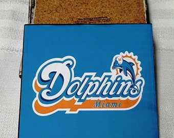 Miami Dolphins Ceramic Tile Drink Coasters / Dolphins Coaster Set / Set of 4