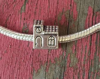 Silver Schoolhouse Bead / Cute Little School Bead / Detailed Euro School House Bead / Antique Silver Large Hole Bead / 9 x 11 mm / KBA41