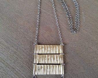Ridges & Mixed Metal Spear Necklace (#72)