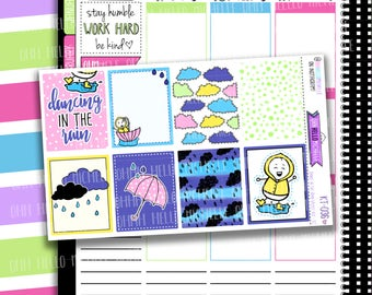 Dancing In The Rain Full Boxes KT-036  | Planner Stickers