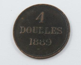 Guernsey 1889 H Four Doubles Coin.