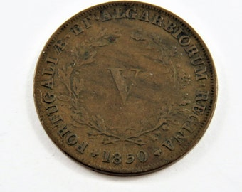 Portugal 1850 5 Reis Coin.