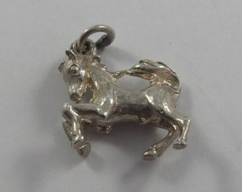 Prancing Playful Horse Sterling Silver Charm or Pendant.