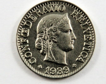 Switzerland 1939 B 10 Rappen Coin.