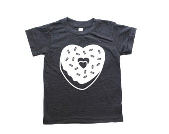 Donut Heart Kids Valentines Day shirt, baby toddler valentines day Shirt, kids donut shirt, boy girl valentines day tee, kids v-day shirt