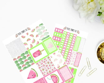 Watermelon Horizontal Planner Stickers, for use with Erin Condren, Life Planner, ECLP, Horizontal Planner