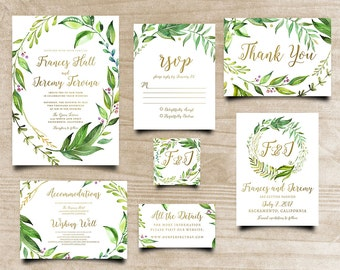 Leafy Invitation,  Calligraphy Invite, Printable Invite, Green Leaves Invite, Bohemian Invitation, Printable Wedding Invitation