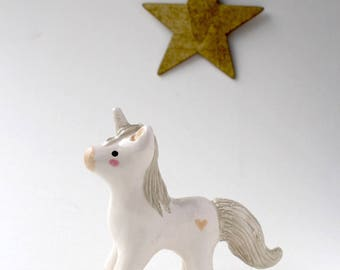 Unicorn Silver and White Totem Handmade Earthenware Clay Figurine Cake Topper Keepsake One Of A Kind Baby Shower Birthday Gift