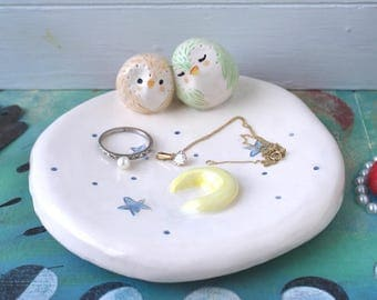 Owl and Owlet Jewellery Dish with Moon and Stars Decorations. Handmade Ceramic Keepsake, Housewarming, Wedding, Birthday Boho Gift.